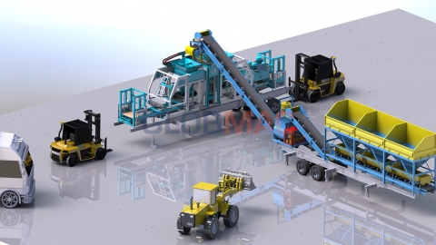 Mobile Concrete Block and Interlock Making Machine